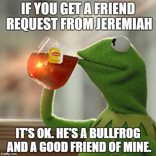 But Thats None Of My Business Meme | IF YOU GET A FRIEND REQUEST FROM JEREMIAH IT'S OK. HE'S A BULLFROG AND A GOOD FRIEND OF MINE. | image tagged in memes,but thats none of my business,kermit the frog | made w/ Imgflip meme maker