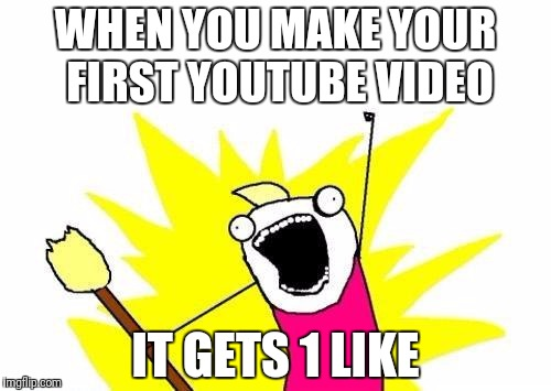 World's Greatest achievement | WHEN YOU MAKE YOUR FIRST YOUTUBE VIDEO IT GETS 1 LIKE | image tagged in memes,x all the y | made w/ Imgflip meme maker