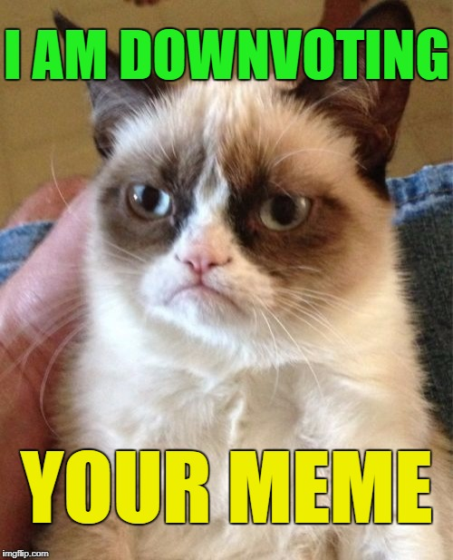 Grumpy Cat Meme | I AM DOWNVOTING YOUR MEME | image tagged in memes,grumpy cat | made w/ Imgflip meme maker