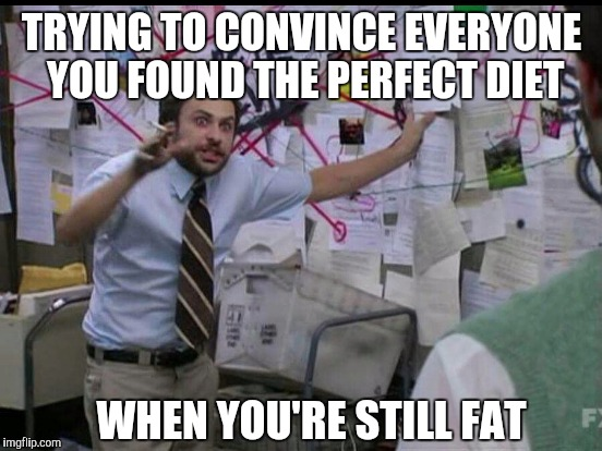 TRYING TO CONVINCE EVERYONE YOU FOUND THE PERFECT DIET WHEN YOU'RE STILL FAT | image tagged in trying to explain | made w/ Imgflip meme maker
