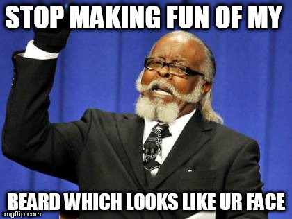 Too Damn High | STOP MAKING FUN OF MY BEARD WHICH LOOKS LIKE UR FACE | image tagged in memes,too damn high | made w/ Imgflip meme maker