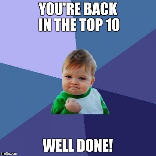 Success Kid Meme | YOU'RE BACK IN THE TOP 10 WELL DONE! | image tagged in memes,success kid | made w/ Imgflip meme maker