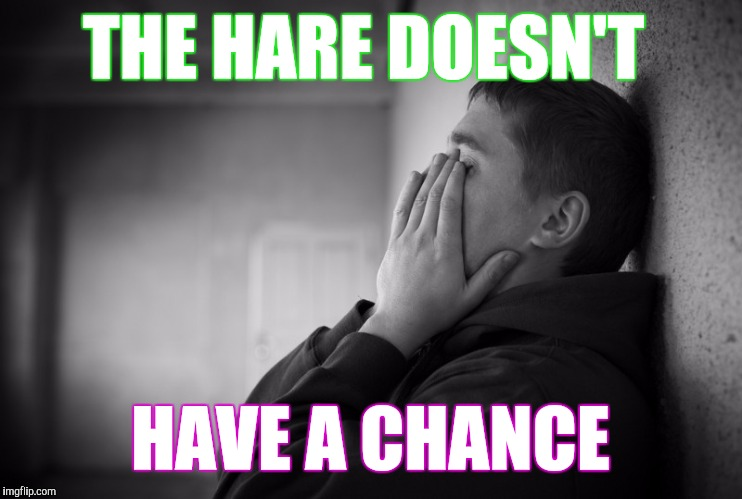 Having a hard time | THE HARE DOESN'T HAVE A CHANCE | image tagged in having a hard time | made w/ Imgflip meme maker