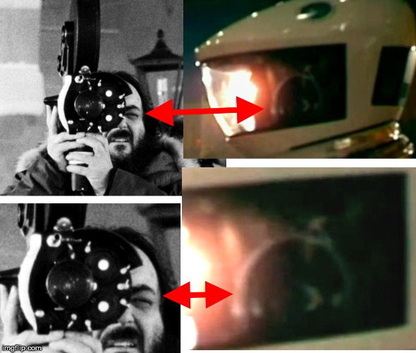2001 Kubrick reflection | image tagged in stanley kubrick,reflection,2001 a space odyssey,helmet,secrets | made w/ Imgflip meme maker