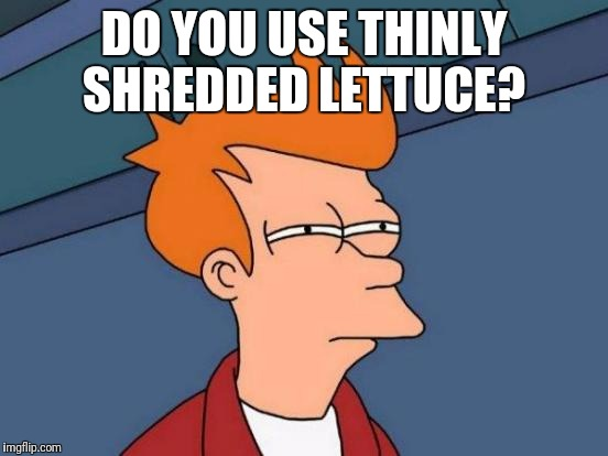 Futurama Fry Meme | DO YOU USE THINLY SHREDDED LETTUCE? | image tagged in memes,futurama fry | made w/ Imgflip meme maker