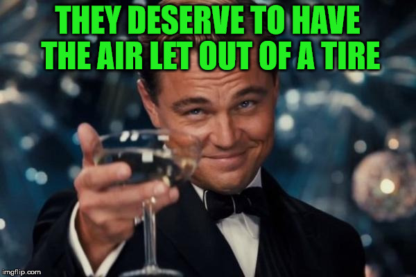 Leonardo Dicaprio Cheers Meme | THEY DESERVE TO HAVE THE AIR LET OUT OF A TIRE | image tagged in memes,leonardo dicaprio cheers | made w/ Imgflip meme maker