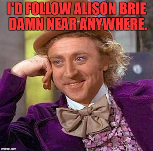 Creepy Condescending Wonka Meme | I'D FOLLOW ALISON BRIE DAMN NEAR ANYWHERE. | image tagged in memes,creepy condescending wonka | made w/ Imgflip meme maker