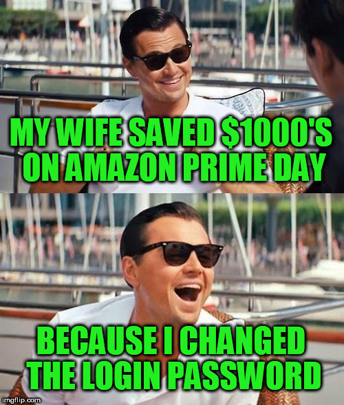 Leonardo Dicaprio Wolf Of Wall Street Meme | MY WIFE SAVED $1000'S ON AMAZON PRIME DAY BECAUSE I CHANGED THE LOGIN PASSWORD | image tagged in memes,leonardo dicaprio wolf of wall street | made w/ Imgflip meme maker