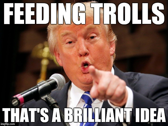 Trumpy Sarcasm | FEEDING TROLLS THAT'S A BRILLIANT IDEA | image tagged in trump you,memes,funny,sarcasm,troll,feed | made w/ Imgflip meme maker