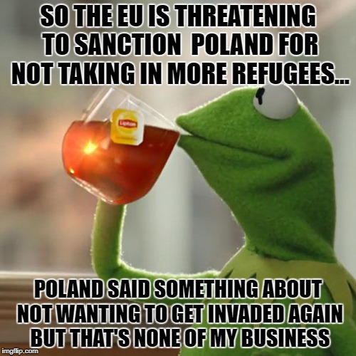But Thats None Of My Business Meme | SO THE EU IS THREATENING TO SANCTION  POLAND FOR NOT TAKING IN MORE REFUGEES... POLAND SAID SOMETHING ABOUT NOT WANTING TO GET INVADED AGAIN | image tagged in memes,but thats none of my business,kermit the frog | made w/ Imgflip meme maker