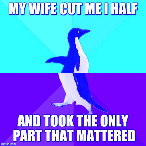 Socially Awesome Awkward Penguin Meme | MY WIFE CUT ME I HALF AND TOOK THE ONLY PART THAT MATTERED | image tagged in memes,socially awesome awkward penguin | made w/ Imgflip meme maker