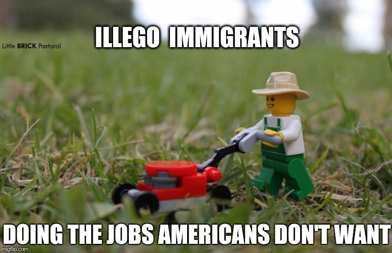 He's a blockhead, but he gets the job done. Takes him a while, tho. | ILLEGO  IMMIGRANTS DOING THE JOBS AMERICANS DON'T WANT | image tagged in lego,illegal immigration | made w/ Imgflip meme maker