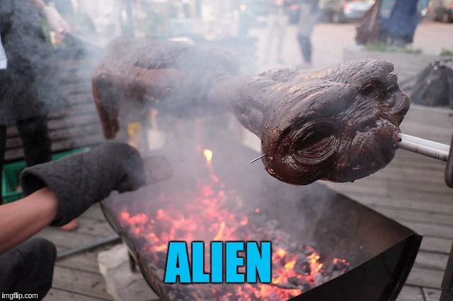 Alien | ALIEN | image tagged in memes,funny,et,bbq,roasting | made w/ Imgflip meme maker