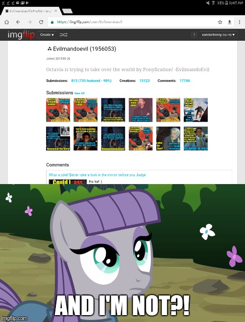 Really Evilmandoevil?! | AND I'M NOT?! | image tagged in memes,evilmandoevil,xanderbrony,octavia_melody,ponies | made w/ Imgflip meme maker