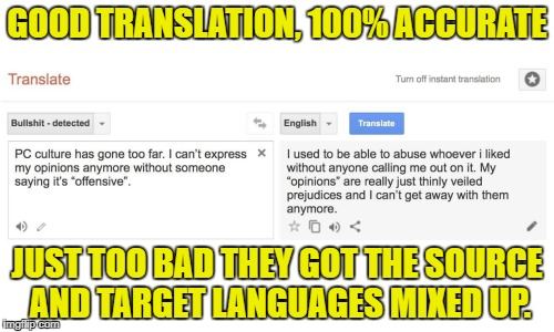 The BS is on the right, not on the left | GOOD TRANSLATION, 100% ACCURATE JUST TOO BAD THEY GOT THE SOURCE AND TARGET LANGUAGES MIXED UP. | image tagged in pc,political correctness,memes | made w/ Imgflip meme maker