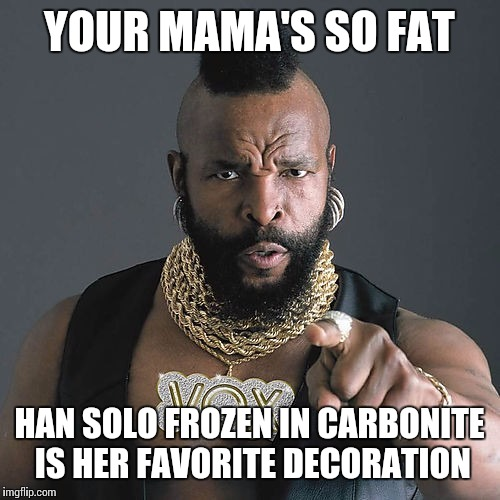 Stop your jibber jabber | YOUR MAMA'S SO FAT HAN SOLO FROZEN IN CARBONITE IS HER FAVORITE DECORATION | image tagged in memes,mr t pity the fool,yo mamas so fat,star wars | made w/ Imgflip meme maker