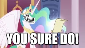 Trollestia | YOU SURE DO! | image tagged in trollestia | made w/ Imgflip meme maker