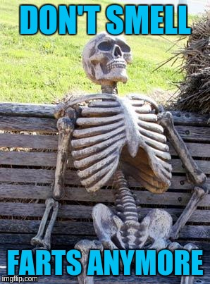 Waiting Skeleton Meme | DON'T SMELL FARTS ANYMORE | image tagged in memes,waiting skeleton | made w/ Imgflip meme maker