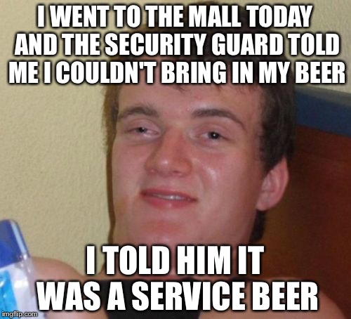 10 Guy Meme | I WENT TO THE MALL TODAY AND THE SECURITY GUARD TOLD ME I COULDN'T BRING IN MY BEER I TOLD HIM IT WAS A SERVICE BEER | image tagged in memes,10 guy | made w/ Imgflip meme maker