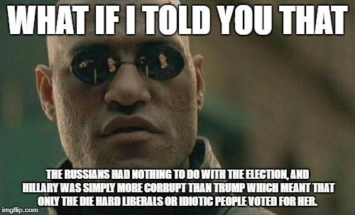 Matrix Morpheus Meme | WHAT IF I TOLD YOU THAT THE RUSSIANS HAD NOTHING TO DO WITH THE ELECTION, AND HILLARY WAS SIMPLY MORE CORRUPT THAN TRUMP WHICH MEANT THAT ON | image tagged in memes,matrix morpheus | made w/ Imgflip meme maker