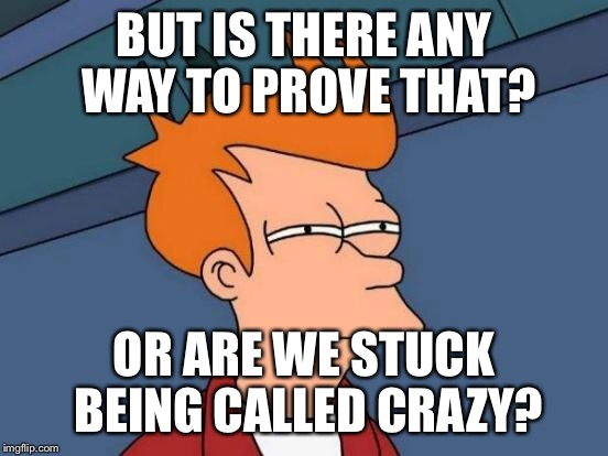 Futurama Fry Meme | BUT IS THERE ANY WAY TO PROVE THAT? OR ARE WE STUCK BEING CALLED CRAZY? | image tagged in memes,futurama fry | made w/ Imgflip meme maker