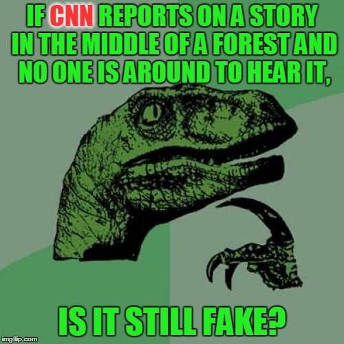 Two events for the price of one! Riddle Weekend (July 14 to 16) and Anti-CNN Month. (>‿◠) | IF CNN REPORTS ON A STORY IN THE MIDDLE OF A FOREST AND NO ONE IS AROUND TO HEAR IT, IS IT STILL FAKE? CNN | image tagged in memes,philosoraptor,cnn vs the internet,anti cnn month,riddle weekend,craziness_all_the_way | made w/ Imgflip meme maker