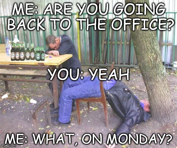 Friday lunchtime Drinking | ME: ARE YOU GOING BACK TO THE OFFICE? ME: WHAT, ON MONDAY? YOU: YEAH | image tagged in lunch time drinking,drunk,drinking,office,work,monday | made w/ Imgflip meme maker
