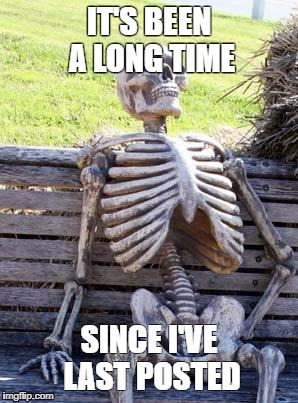 Long Long time | IT'S BEEN A LONG TIME SINCE I'VE LAST POSTED | image tagged in memes,waiting skeleton | made w/ Imgflip meme maker