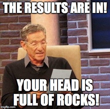 Maury Lie Detector Meme | THE RESULTS ARE IN! YOUR HEAD IS FULL OF ROCKS! | image tagged in memes,maury lie detector | made w/ Imgflip meme maker