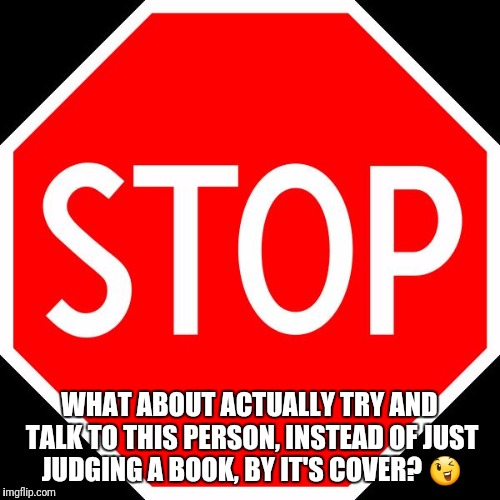 WHAT ABOUT ACTUALLY TRY AND TALK TO THIS PERSON, INSTEAD OF JUST JUDGING A BOOK, BY IT'S COVER?  | image tagged in stop sign | made w/ Imgflip meme maker