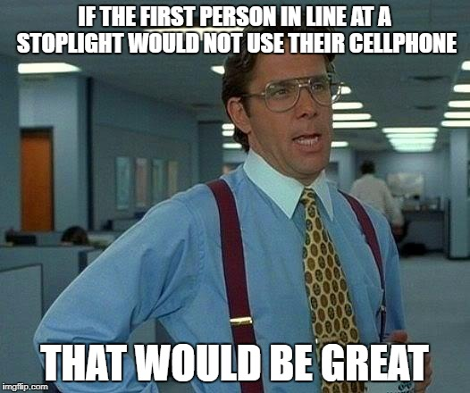 That Would Be Great Meme | IF THE FIRST PERSON IN LINE AT A STOPLIGHT WOULD NOT USE THEIR CELLPHONE THAT WOULD BE GREAT | image tagged in memes,that would be great | made w/ Imgflip meme maker