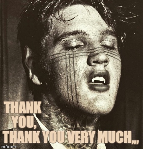 Elvis Vampire | THANK YOU, THANK YOU VERY MUCH,,, | image tagged in elvis vampire | made w/ Imgflip meme maker
