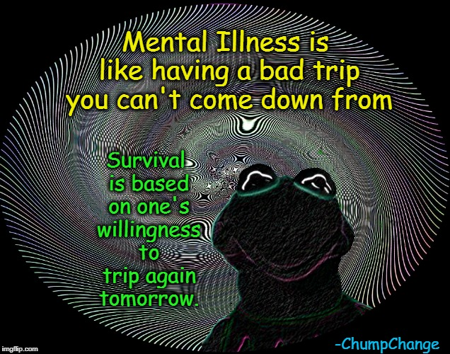 Insight | Mental Illness is like having a bad trip you can't come down from Survival is based on one's willingness to trip again tomorrow. -ChumpChang | image tagged in memes,mental illness,chumpchange | made w/ Imgflip meme maker