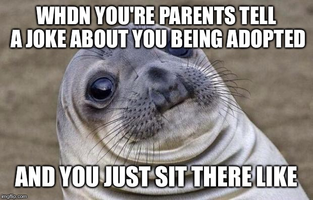 Awkward Moment Sealion Meme | WHDN YOU'RE PARENTS TELL A JOKE ABOUT YOU BEING ADOPTED AND YOU JUST SIT THERE LIKE | image tagged in memes,awkward moment sealion | made w/ Imgflip meme maker