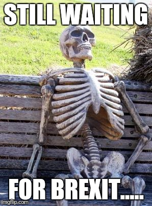 Waiting Skeleton Meme | STILL WAITING FOR BREXIT..... | image tagged in memes,waiting skeleton | made w/ Imgflip meme maker