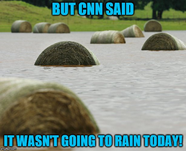 Farmers don't want to get their hay wet! | BUT CNN SAID IT WASN'T GOING TO RAIN TODAY! | image tagged in hayfield,rain,anti cnn month,cnn,cnn sucks | made w/ Imgflip meme maker