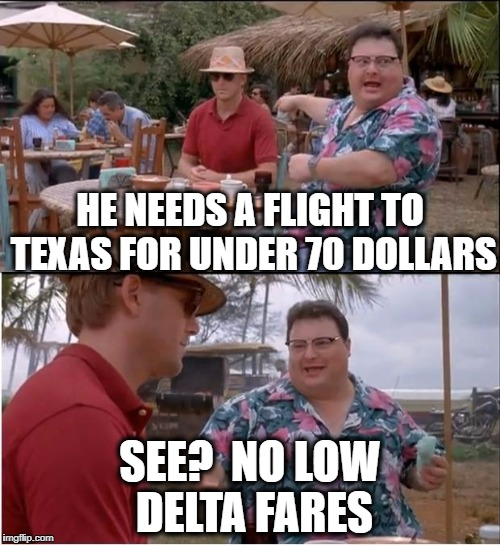 See?  Nobody Cares | HE NEEDS A FLIGHT TO TEXAS FOR UNDER 70 DOLLARS SEE?  NO LOW DELTA FARES | image tagged in memes,see nobody cares | made w/ Imgflip meme maker