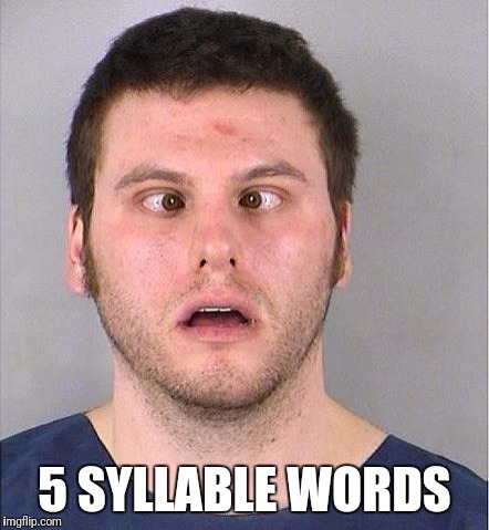 Cross-eyed Joe | 5 SYLLABLE WORDS | image tagged in cross-eyed joe | made w/ Imgflip meme maker
