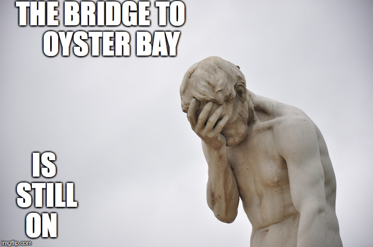 Disappointment | THE BRIDGE TO      OYSTER BAY IS STILL ON | image tagged in disappointment | made w/ Imgflip meme maker