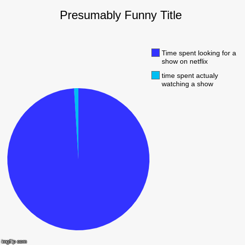 time spent actualy watching a show, Time spent looking for a show on netflix | image tagged in funny,pie charts | made w/ Imgflip pie chart maker