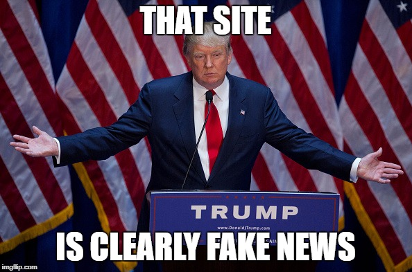 Trump Bruh | THAT SITE IS CLEARLY FAKE NEWS | image tagged in trump bruh | made w/ Imgflip meme maker