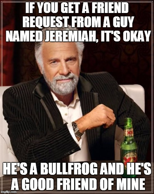 Friend Request | IF YOU GET A FRIEND REQUEST FROM A GUY NAMED JEREMIAH, IT'S OKAY HE'S A BULLFROG AND HE'S A GOOD FRIEND OF MINE | image tagged in memes,the most interesting man in the world | made w/ Imgflip meme maker