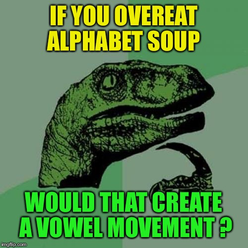 Learning experience  | IF YOU OVEREAT ALPHABET SOUP WOULD THAT CREATE A VOWEL MOVEMENT ? | image tagged in memes,philosoraptor,funny | made w/ Imgflip meme maker