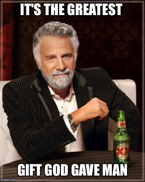 The Most Interesting Man In The World Meme | IT'S THE GREATEST GIFT GOD GAVE MAN | image tagged in memes,the most interesting man in the world | made w/ Imgflip meme maker