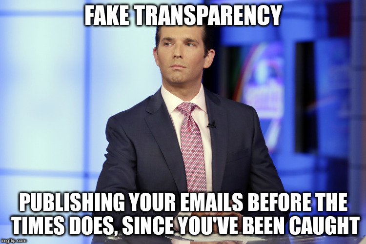 Well at least you told us about everybody who attended the meeting.... | FAKE TRANSPARENCY PUBLISHING YOUR EMAILS BEFORE THE TIMES DOES, SINCE YOU'VE BEEN CAUGHT | image tagged in don trump jr,trump,humor,new york times,fake transparency | made w/ Imgflip meme maker