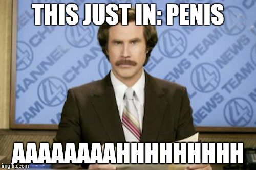Ron Burgundy Meme | THIS JUST IN: P**IS AAAAAAAAHHHHHHHHH | image tagged in memes,ron burgundy | made w/ Imgflip meme maker