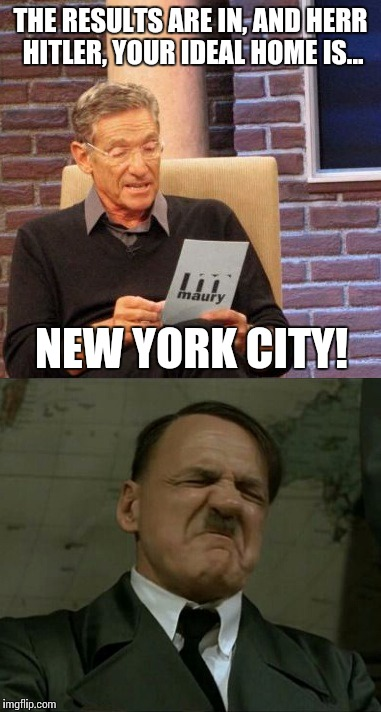 THE RESULTS ARE IN, AND HERR HITLER, YOUR IDEAL HOME IS... NEW YORK CITY! | made w/ Imgflip meme maker