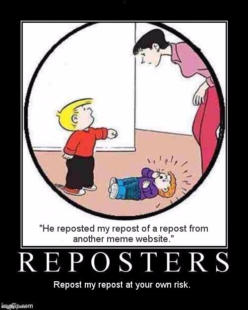 "Reposters | ""HE REPOSTED MY REPOST OF A REPOST FROM ANOTHER MEME WEBSITE."" REPOSTERS - REPOST MY REPOST AT YOUR OWN RISK. 