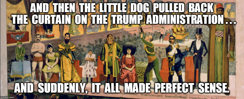 The Trump Freak Show | AND  THEN  THE  LITTLE  DOG  PULLED  BACK  THE  CURTAIN  ON  THE  TRUMP  ADMINISTRATION . . . AND  SUDDENLY,  IT  ALL  MADE  PERFECT  SENSE. | image tagged in trump | made w/ Imgflip meme maker