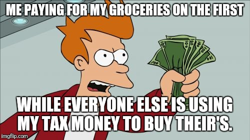 Shut Up And Take My Money Fry Meme | ME PAYING FOR MY GROCERIES ON THE FIRST WHILE EVERYONE ELSE IS USING MY TAX MONEY TO BUY THEIR'S. | image tagged in memes,shut up and take my money fry | made w/ Imgflip meme maker
